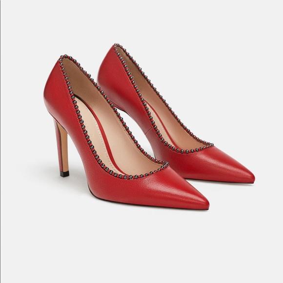 bbe40c70c31 ❤ ❤ ❤️LOVE NWT s Red Zara Beaded Pumps 38 7.5